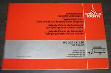Ersatzteilliste Deutz Fahr Ladewagen WE 327 LK / LSK Export Spare Parts List