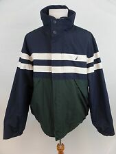 Nautica Colorblock Striped Fleece Lined Wind Breaker Rain Coat Men's Size XXL