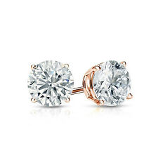 2.0 ct Round Cut Solitaire Stud Earrings in Solid 14k Real Rose Gold Screw Back