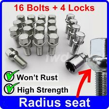 20 x RADIUS ALLOY WHEEL BOLTS & LOCKS FOR AUDI A1 A3 A4 (M14x1.5) STUD NUTS [9R]