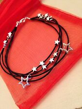 Silver Plated Star Cord Bracelet Pendant Charms Punk Rock Emo Goth