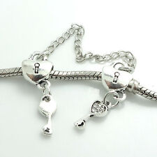 1PCS Silver Stopper Locks Beads Clip Safety Chain To Fit Charm Bracelet SH138