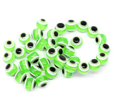 25 x Green Evil Eye Resin Spacer Beads - 10mm - L10120