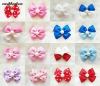 Handmade Girl Kids Children Hair Accessories Four Wings Ribbon Bows Clip Bobble