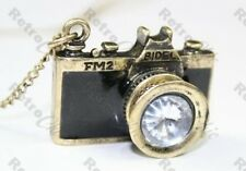 VINTAGE FM2 CAMERA rhinestone lens NECKLACE pendant LONG CHAIN antique brass