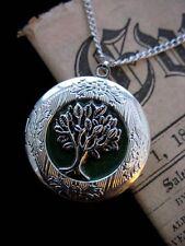 Árbol de la vida Medallón Collar Colgante Gótico Hoja Verde Silver Vintage De Fantasía