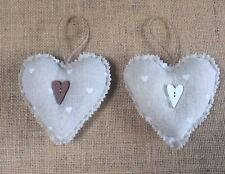 Hessian Linen Fabric Hanging Hearts With Scented Lavender Sewing Kit Shabby Chic