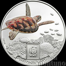 2016 Tanzania - GREEN SEA TURTLE - Silver Plated COPPER Coin W/ Color WWF Africa