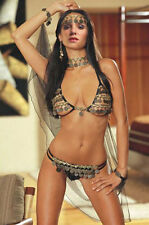 Sexy Slave Gypsy Belly Dancer Halloween Costume Black Sheer Lace Gold Coins 8453