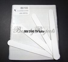 """(50pcs) Professional 80/100 Grit White Acrylic Nail Files Plastic Center 7"""" bulk"""