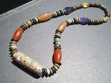 1Luxuous Antique Murano Millefiori Natural Artistic Stone & Trade Beads Necklace