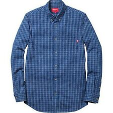 SUPREME Denim Shirt Windowpane M Box Logo 2012 safari camp kate moss F/W 13