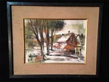 Landscape Acrylic Painting of Woods Cabin Art Signed Paul #122