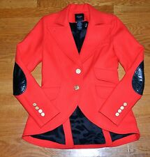 Smythe Les Vestes Red Black Leather Wool Riding Equestrian Blazer Jacket US 4