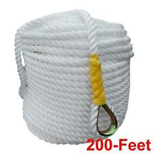 """1/2"""" x 200' Nylon Anchor/Boat Rope Twisted Four Strand with Thimble"""