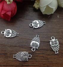 Wholesale 12pcs Tibet silver Owl Charm Pendant beaded Jewelry Findings