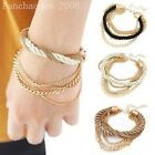 NEW Womens Elegant Gold Chain Braided Rope Multilayer Bracelet Handmade Chain