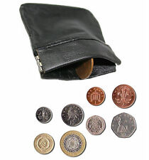 Mens Genuine REAL LEATHER Coin Tray Purse Large Coins Pouch Wallet Black 'sprgCn