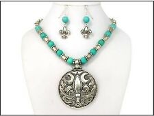 Silver and Turquoise Necklace with Matching Earrings 18""