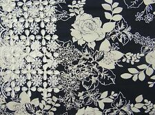 "Black Designer 38"" Wide Cutwork Embroidered Cotton Craft Fabric By The Metre"