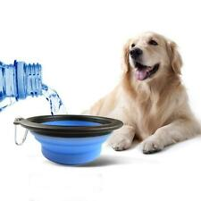 Dog Cat Pet Silicone Collapsible Travel Feeding Bowl Water Dish Feeder Blue 1