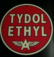 TYDOL Ethyl...Flying A  Gasoline / Oil Gas Porcelain Advertising sign