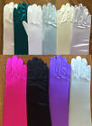 "16"" Evening Bridal Wedding Formal Prom Gloves Elbow Length Stretch satin Colors"
