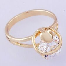 Huge White Gemstone Womens Engagement Heart Ring Size 5 (US) Yellow Gold Plated
