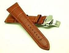 23mm Brown Croco Embossed Leather Watch Replacement Strap Butterfly Clasp