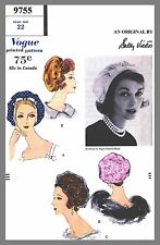 Vintage Vogue Designer Sally Victor Hat Fabric material sewing  pattern # 9755