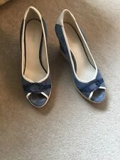 Guess Blue Suede Leather Heels Wedges 7 41 Summer Party