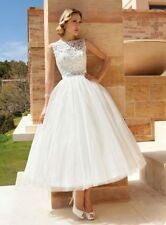 New Lace White/Ivory Short Wedding Dress Bridal Gown Size 6 8 10 12 14 16 18
