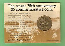 #C13. 1990 AUSTRALIAN $5 ANZAC COIN - SIMPSON & HIS DONKEY