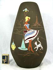 """Seltene / rare 50´s Design Marei Keramik pottery vase """" Paris """" 2002 / 30"""