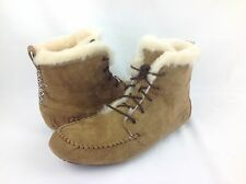 UGG AUSTRALIA CHICKAREE SUEDE /LAMB FUR MOCCASIN BOOTS CHESTNUT WOMENS 10 US-41E