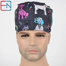 unisex surgical scrub medical surgery dentist cap/hats only-pixie-dogs