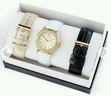 GUESS WOMEN'S GOLD-TONE WATCH BOX SET 3 PIECE WRIST BAND