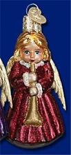 BURGUNDY ANGEL W/ HORN OLD WORLD CHRISTMAS GLASS ANGELIC MUSICAL ORNAMENT 10205
