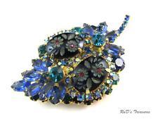 Vintage JULIANA D&E Carved Etched Flower Blue Teal Rhinestone Brooch BOOK PIECE