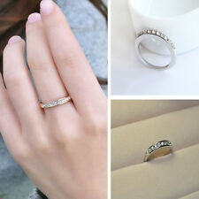Delicate Women's Engagement Ring Charm Crystal Rhinestone Silver Plated Jewelry