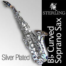SILVER-Plated Curved SOPRANO SAX • Bb Saxophone • Brand New • High Quality Sax •