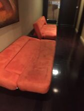 Orange Suede Couch with adjustable back