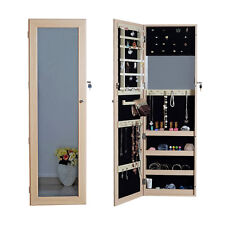 Wall Door Mount Full Length Mirror Jewelry Armoire Cabinet Chest with Lock Oak
