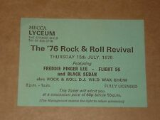 "Freddie ""Fingers"" Lee/Flight 56/Black Sedan 1976 Mecca Lyceum concert Ticket"