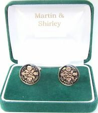 1961 Sixpence cufflinks from real coins in Black & Gold