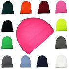 Beanie Hats Mens Ladies Wooly Winter Caps Ski Knitted Turn Up Neon Unisex Skater