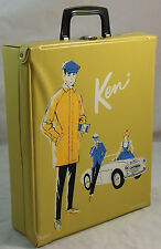 Vintage Ken Doll Gold Vinyl Trunk Carrying Case Wardrobe 1962 Rally Day Barbie