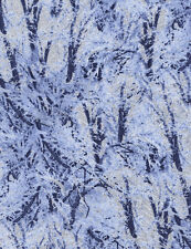 Fabric Icy Snowy Branches Glittery on Blue Cotton by the 1 Yard