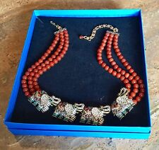 "HEIDI DAUS ""LIFE'S A PARADE"" CRYSTAL ELEPHANT DESIGN 3-ROW NECKLACE FABULOUS!!"