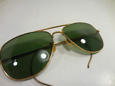 Vintage Aviator Sunglasses Gold Color Frame Green Tint Viet Nam Pilot Coil Arm